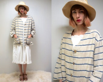 LINEN JACKET Nautical Jacket Spring Jacket Striped Jacket 80s Jacket Cotton Jacket Womens Jacket Womens Blazer Summer Jacket Minimalist