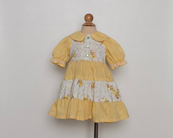 vintage 1970s toddler girl's dress | 70s yellow floral dress | gingham print