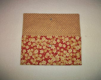 Pocket for ID or other. Lotus fabric Japanese gilt - lined fabric with polka dots