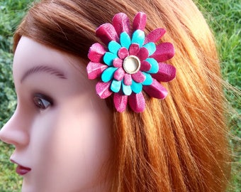 Pink daisy Leather hair clip and brooch, pink flower, turquoise leather accessory, leather flower clip