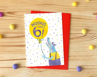 Woohoo You're 6! Greetings Card, Children's Illustrated Birthday Card, Crocodile Six Year Old Card