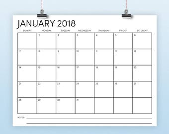 """8.5"""" x 11"""" 2018 Calendar Template 