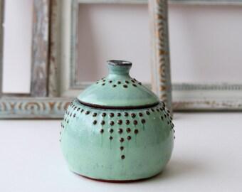 Ceramic Lidded Jar - 10 oz. Canister - Aqua Mist - Modern Home Decor - MADE TO ORDER