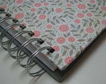 Sketchbook - Lined Journal - Blank Journal - Journal - Prayer Journal - Daily Journal - Wire Bound Journal - Diary - Notebook - Gray Floral