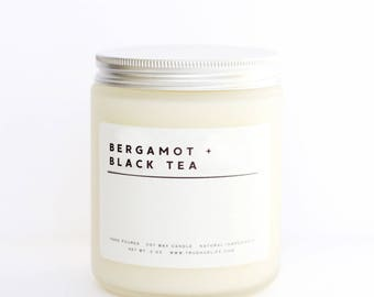 BERGAMOT + BLACK TEA // 8 oz Frosted Glass Soy Wax Candle, Hand Poured, Natural, Highly Scented, Eco Friendly