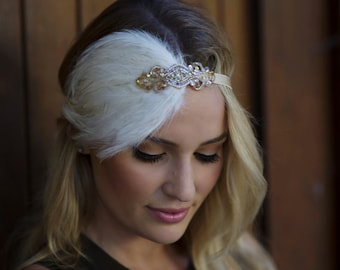 GOLD Gatsby headband, gold 1920s headpiece, feather headband, wedding headband, 1920s flapper dress headband, Ivory feather fascinator