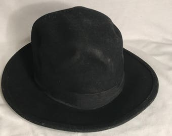 Old English Vintage Style black felt Bowler Hat