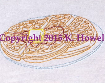 Waffle Hand Embroidery Pattern, Waffles, Breakfast, Detailed, Belgium, Butter, Syrup, Tasty, Sweet, Plate, Meal, PDF