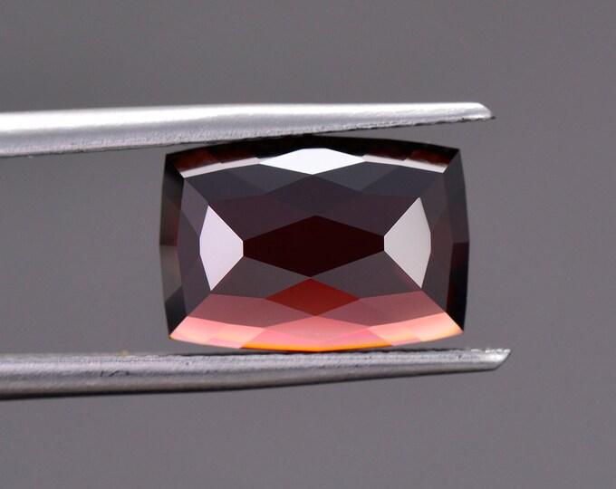 Fantastic Deep Red Zircon Gemstone from Tanzania, 6.86 cts., 11.8 x 8.3 mm., Rose Cut Cushion Shape.