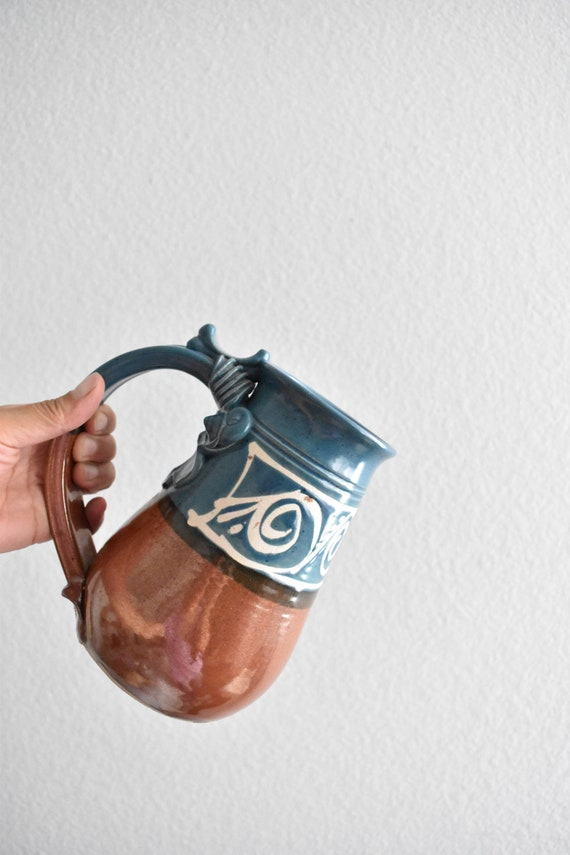extra large hand thrown hand painted blue stoneware pottery coffee mug / beer mug / pitcher