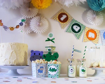 Safari Birthday Party Package ready to use . Name and age banner. First year party.