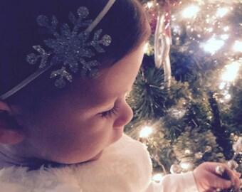 Snowflake headband, baby headband, glitter Snowflake headband, silver snowflake , gold snowflake headband , baby-girl snowflake