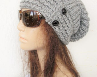 Womens  Knit Hat  Slouchy Hat  Winter Hat   Silver Gray  Slouchy Beanie Womens Beanie Christmas  Gift  for her Winter  accessories fashion
