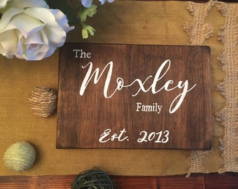 Small Last Name Wood Sign