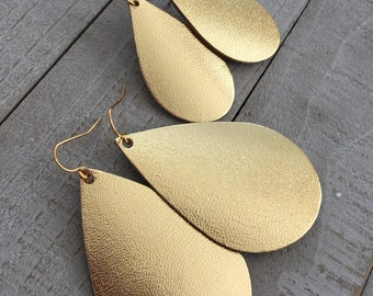 Gold Metallic Leather Teardrop Earrings - Lightweight Leather Jewelry - Choose Your Size on Gold-Plated Steel Wires