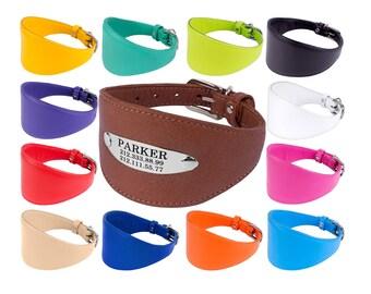 Greyhound Collar, Whippet Collar, Saluki Collar, Lurcher Collar, Wide Dog Collar, Leather Dog Collar, Personalized Greyhound Dog Collar