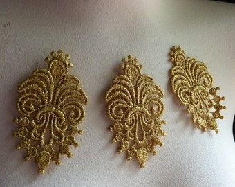 3 Gold Lace Appliques in Metallic Gold for Lyrical Costumes, Bridal, Jewelry, Crafts CA 737