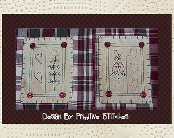 Prim Winter Hand Towel Collection 1-Primitive Stitchery  E-PATTERN-Instant Download
