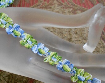 Blue and Green Striped Ribbon Rosette Trim