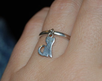 James Avery Retired Vintage Dangling Kitty Charm Cat Ring Sterling 925 #BKC-KRNG53