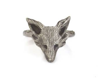 Sterling Silver Fox Ring, fox jewelry, statement ring, men, women, woodland rings
