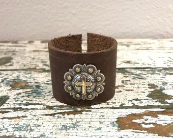 Western Cross Concho Brown Leather Cuff Bracelet