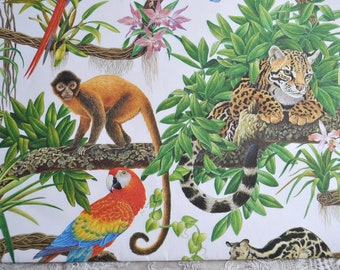 Vintage Wrapping Paper -  Jungle Animals in Trees - Full Unused Sheet 30 x 24