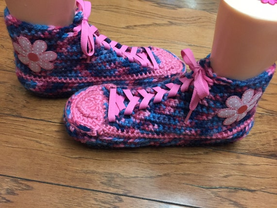 382 blue crochet Womens shoes slippers 10 tennis pink tennis slippers crochet Crocheted slippers Listing sneaker 8 flower shoes tennis shoes Pfnq1H