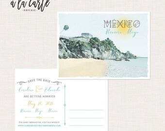 Mexico Riviera Tulum Maya Playa del Carmen illustrated wedding save the date postcards Destination wedding invitation - Deposit payment