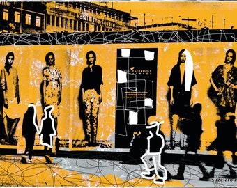 Copenhagen, city, photography, yellow, mixedmedia, streetlife, overpaint, artwork, print, denmark, dänemark, popart, bunt, shopping,mode