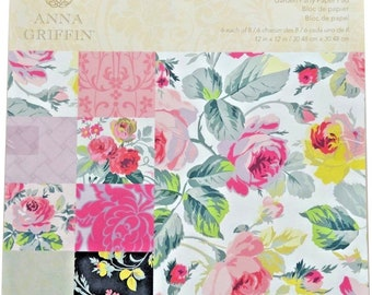Anna Griffin Garden Party Grace Collection Paper Pad, 12x12, 48 sheets of Lovely Rich Romantic Floral Designs