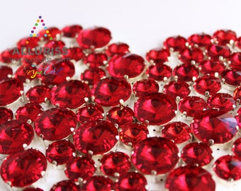 18mm Round, 9pcs  Red Crystal, Fancy Stone & Claw Setting