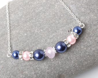 Navy and pink Bridesmaid Bracelet, Navy and pink wedding jewelry, Bridesmaid gift, Mother of the bride gift, blue and pink pearl bracelet