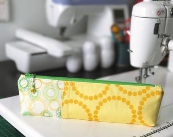 Pencil Pouch in green and yellow spirograph   Pencil Case   Pencil Bag   Zippered Pouch
