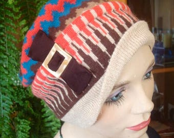 womens hat soft winter non wool chemo vintage ooak