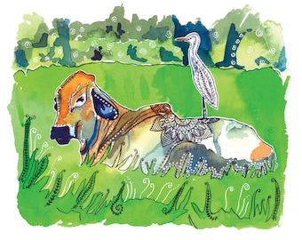The Cow and the Egret- Watercolor and Ink Archival Print- Animal Illustration- bird illustration- by Rachel Devenish Ford
