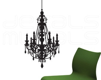 Wall Decals CHANDELIER Surface graphics - Removable vinyl stickers interior decor by Decals Murals (17x28)