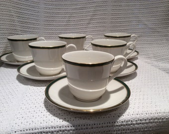 Royal Doulton Oxford Green TC 1191 circa 1990 Tea Cup And Saucer Set