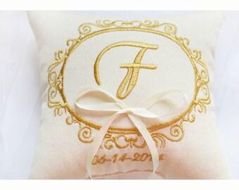 Cuscino anello nuziale personalizzato, cuscino anello, Anello cuscino portatore con cuscino di nozze ricamo, cuscino anello, Custom (R103)