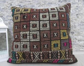 "Natural Wool Organic Turkish Floor Cushion Large Size Kilim Pillow 28"" x 28"" Boho Pillow Decorative Pillows Aztec Pillow Kilim Cushion"