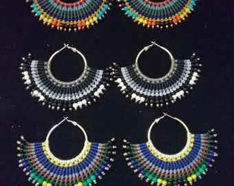 Thai Macrame Earrings, Waxed Cotton and Brass, 8 cm long