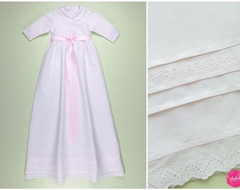 Baby Girl Christening Gown Baby Baptism Linen Dress White baby dress white dress toddler baptism dress
