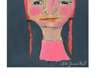 Original Acrylic Fun Quirky Portrait Painting. Small Paintings. Girl Portrait Art. Gray & Pink Office Wall Art