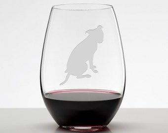 Pit Bull, Pit Bull Wine Glass, Pit Bull Glass, Pibble Etched Stemless Wineglass
