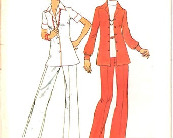 Simplicity 6790 Jiffy Easy Sew Woman's Button Front Shaped Shirt, Elastic Waist Flared Leg Pants Sewing Pattern Size 12 Vintage 1970's