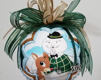 Rudolph and Sam the Snowman Quilted Ornament, Rudolph the Red Nose Reindeer, Christmas Ornament