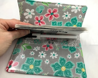 Gray Duplicate Checkbook Cover - Checkbook Register Duplicate Checkbook Register - Fabric Checkbook Cover Flora and Fan Flora Main Gray
