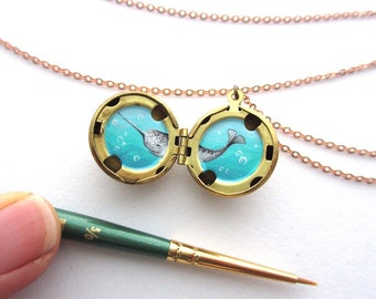 Narwhal Necklace, Hand-Painted Tiny Art for Ocean Lover, Water-Marked Locket
