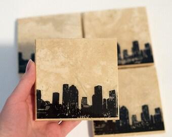 Houston Skyline Coaster Set (4 Stone Coasters, Black & White) Cityscape Home Decor