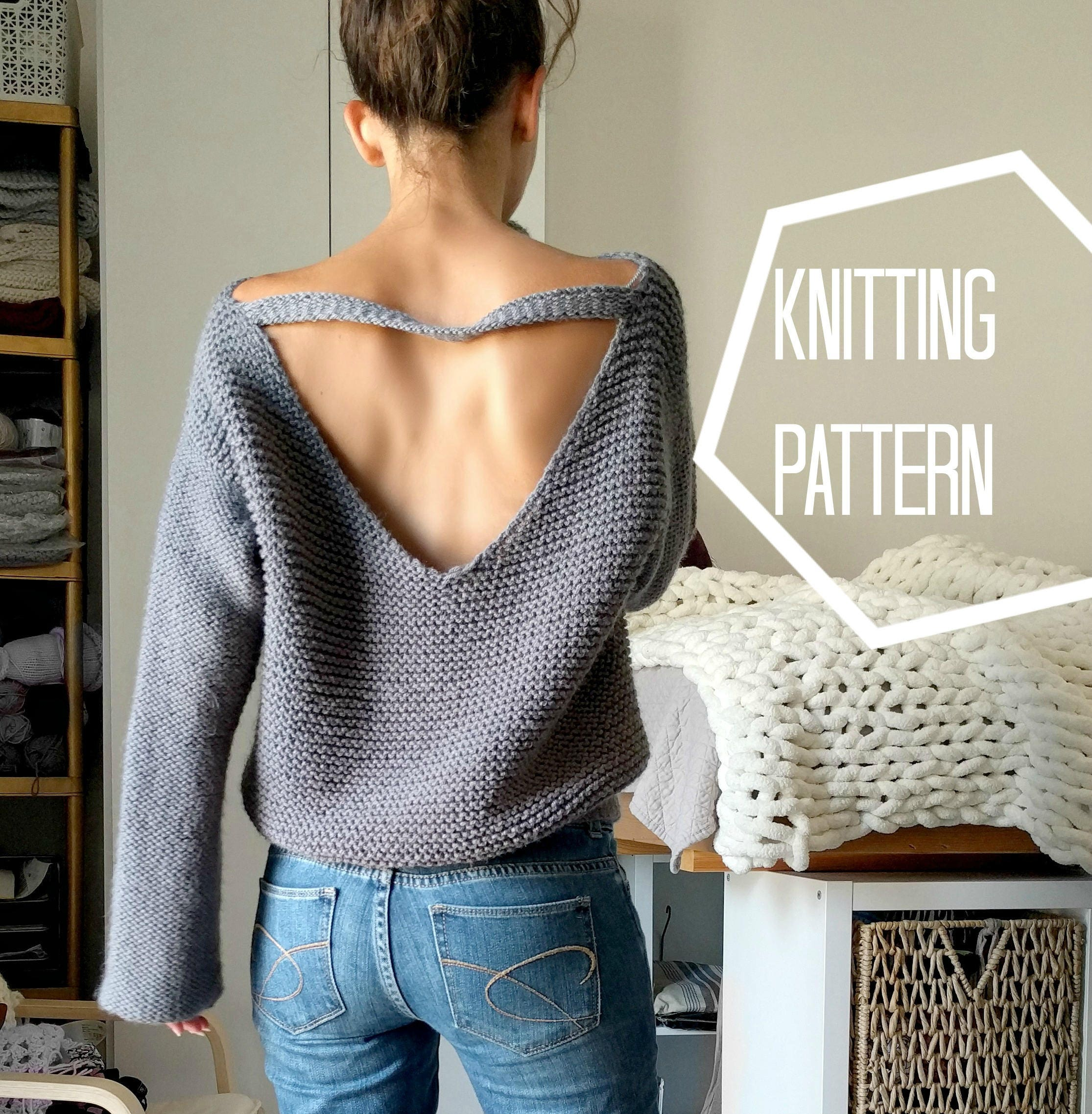 No purls sweater pattern only v back knit sweater pattern zoom bankloansurffo Images